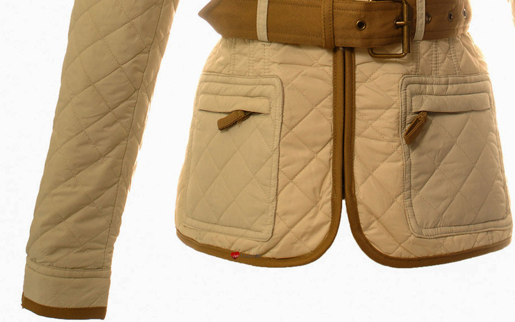 Ladies Zoe Jacket Celtic Quilted Light Beige Contrast Detail