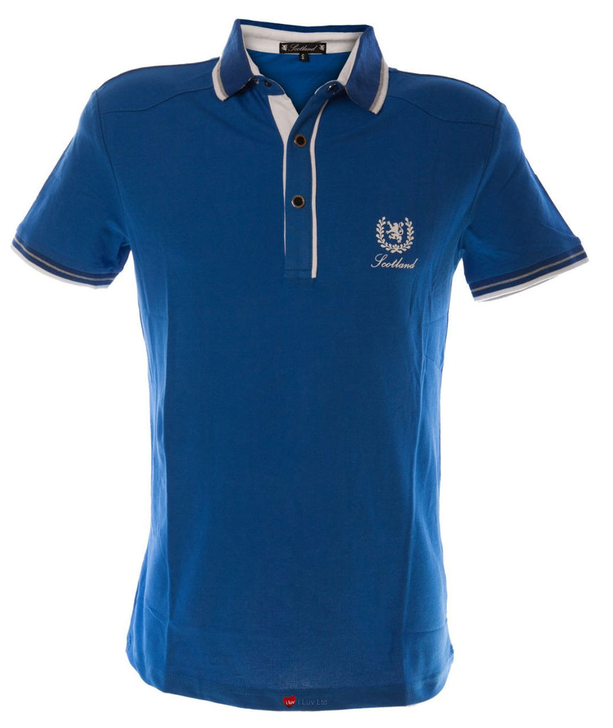 Mens Formula 1 Motor Racing Polo Shirt in Blue