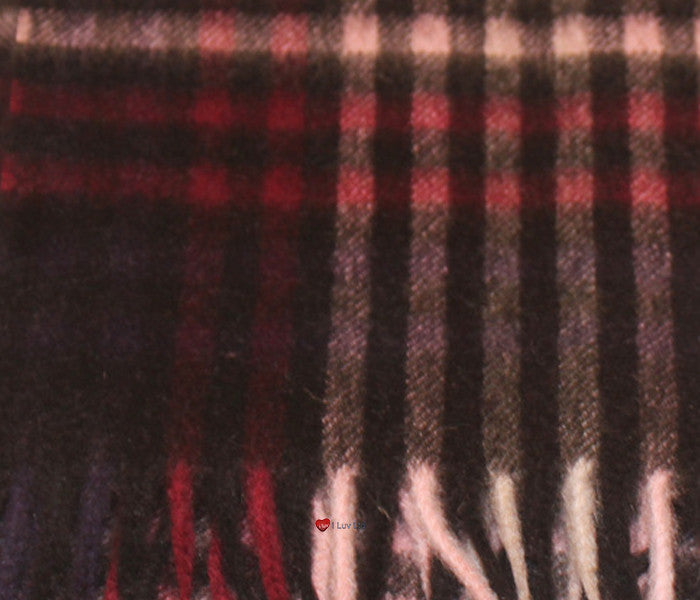 Edinburgh Cashmere Scarf in Pink and Black Optical Check BL