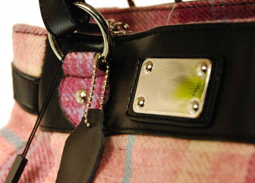 'Eva' Wool Handbag Pink Blue Check Tartan Design