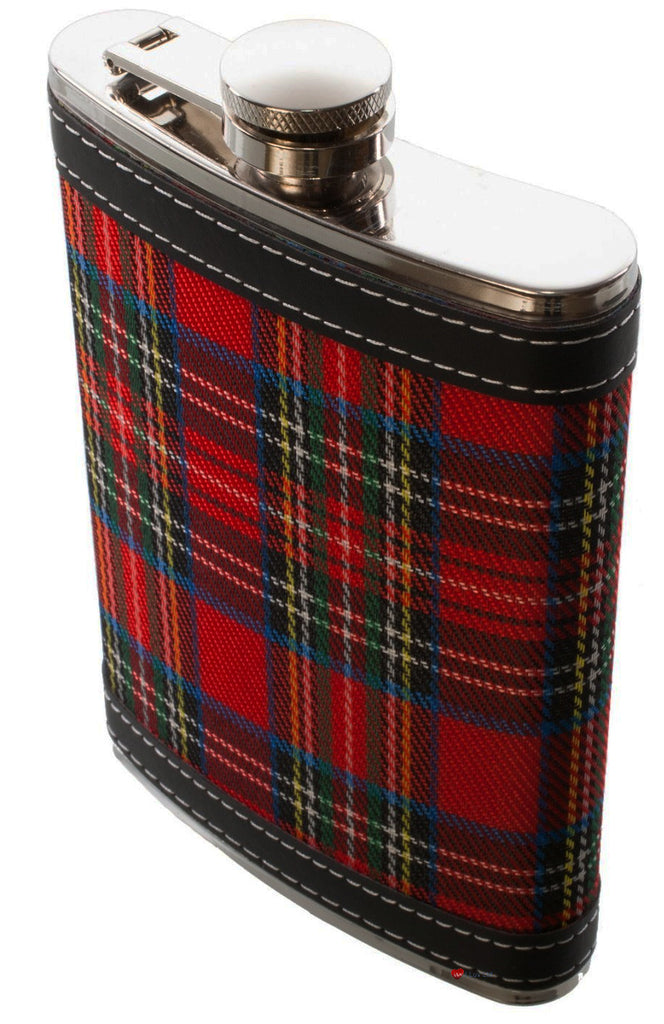 Hip Flask Stainless Steel with Scottish Stewart Royal Tartan Design