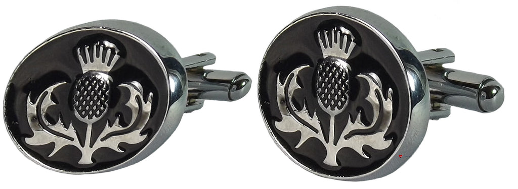 Mens Cufflinks with Thistle Design Black Enamel