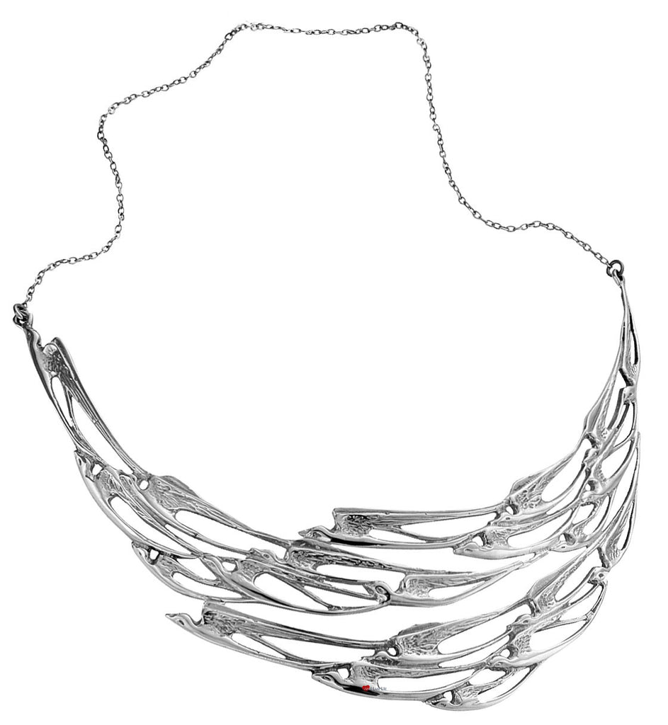 Necklace Hallmarked Sterling Silver Collarette The Flight of Swallows