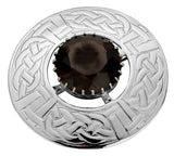 Plaid Brooch Sterling Silver Round Celtic Rope Motif Set Smokey Quartz