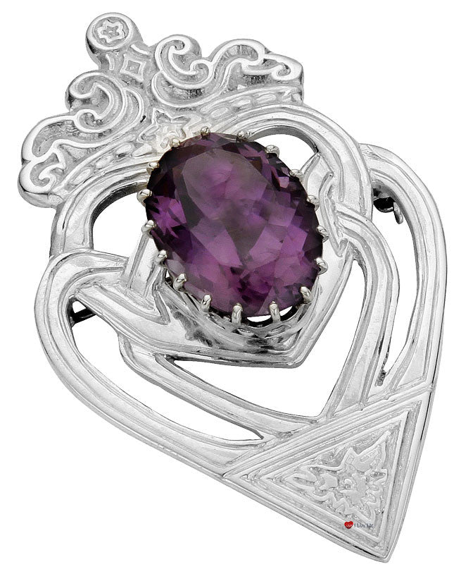 Luckenbooth Brooch Sterling Silver Celtic Interlace Oval Amethyst Stone