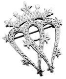 Luckenbooth Brooch Sterling Silver Double Heart Engraved Detail 40mm