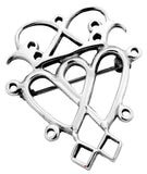 Luckenbooth Brooch Sterling Silver Contemporary Style Double Heart 40mm