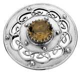 Plaid Brooch Sterling Silver Open Celtic Scrollwork Smokey Quartz 60mm