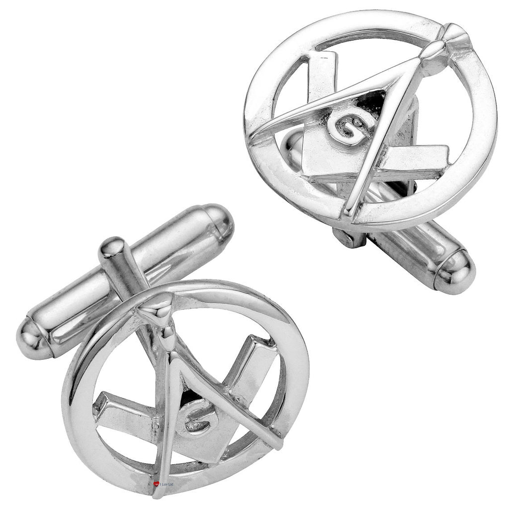 Cufflinks Sterling Silver Masonic Square & Compass Pierced Open Design