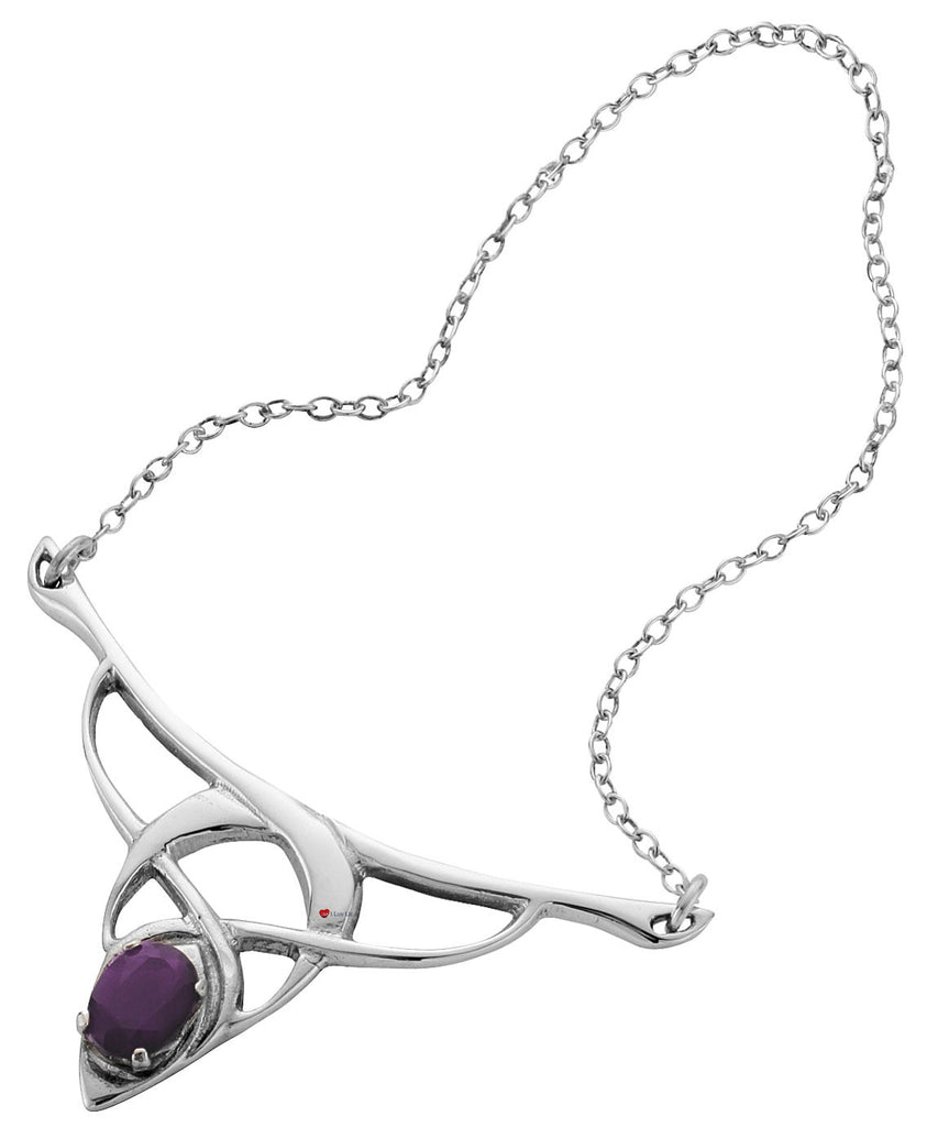 Necklace Sterling Silver Celtic Open Necklet Set Amethyst Stone
