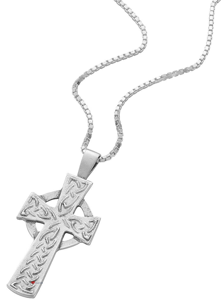 Pendant Cross Hallmarked Sterling Silver Classic Raised Celtic 30mm