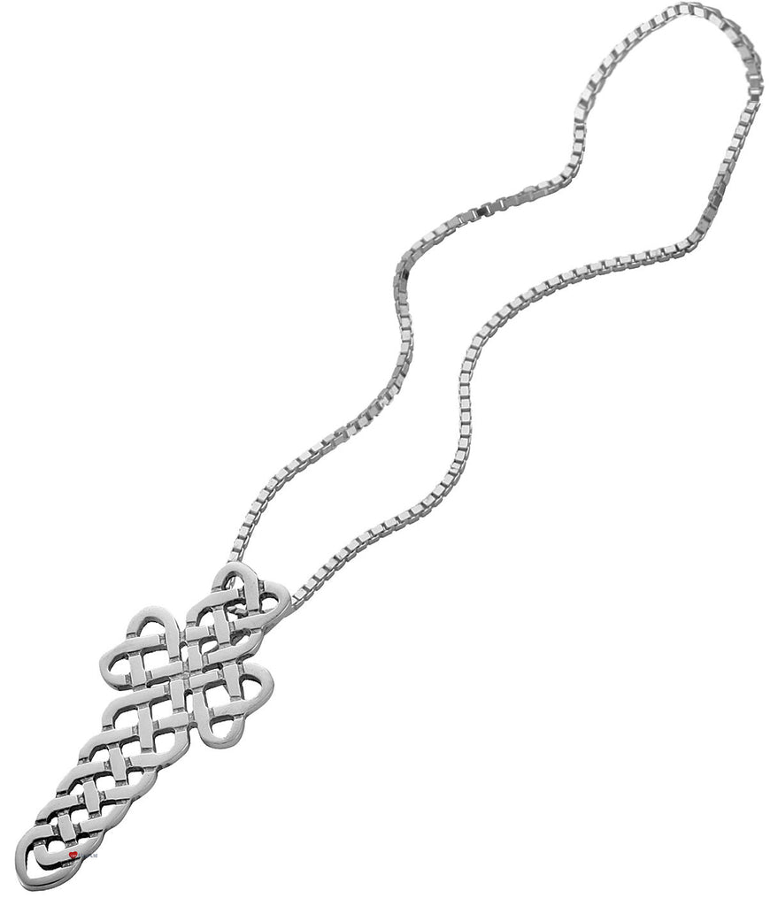 Pendant Cross in Hallmarked Sterling Silver Open Celtic Weave 35mm