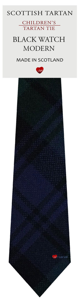 Boys All Wool Tie Woven Scotland - Black Watch Modern Tartan