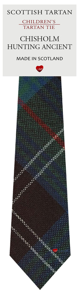 Boys All Wool Tie Woven Scotland - Chisholm Hunting Ancient Tartan