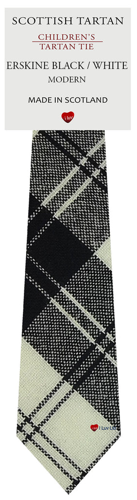 Boys All Wool Tie Woven Scotland - Erskine Black and White Modern Tartan
