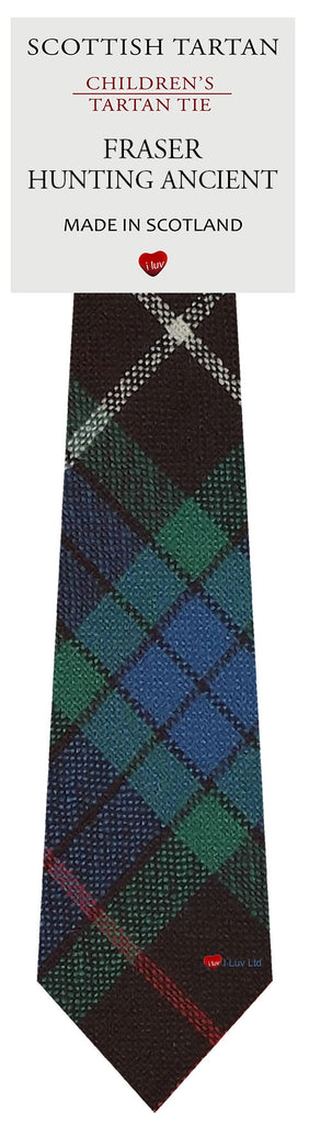 Boys All Wool Tie Woven Scotland - Fraser Hunting Ancient Tartan
