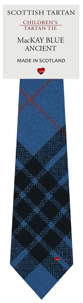 Boys All Wool Tie Woven Scotland - MacKay Blue Ancient Tartan