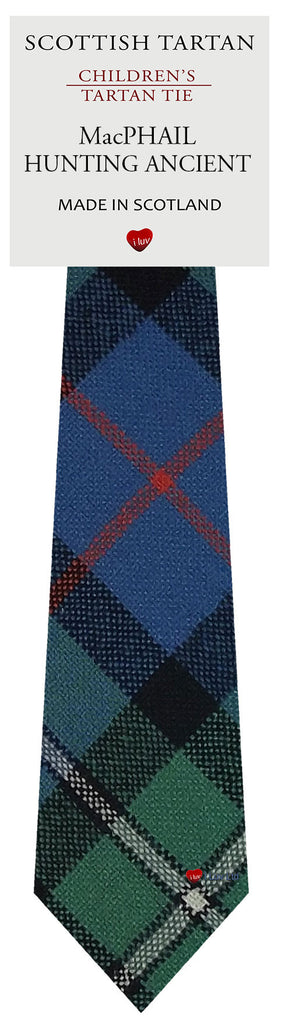 Boys All Wool Tie Woven Scotland - MacPhail Hunting Ancient Tartan