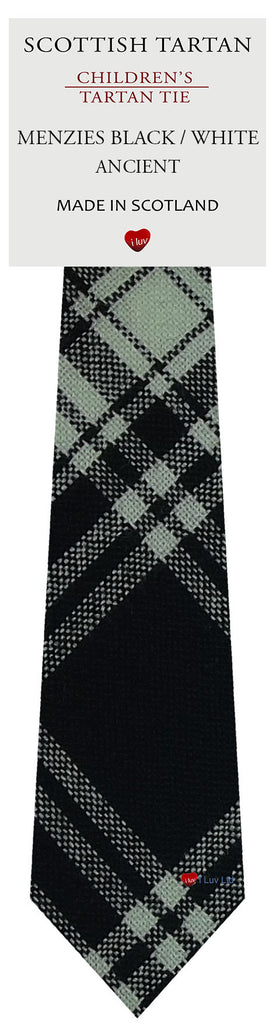 Boys Wool Tie Woven Scotland Menzies Black and White Ancient Tartan