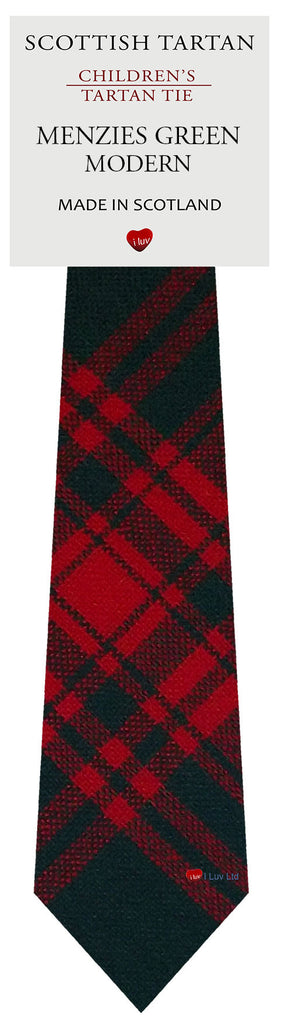 Boys All Wool Tie Woven Scotland - Menzies Green Modern Tartan