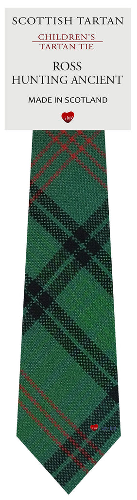 Boys All Wool Tie Woven Scotland - Ross Hunting Ancient Tartan