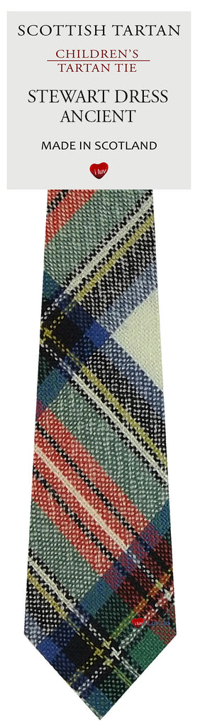 Boys All Wool Tie Woven Scotland - Stewart Dress Ancient Tartan