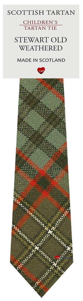 Boys All Wool Tie Woven Scotland - Stewart Old Weathered Tartan
