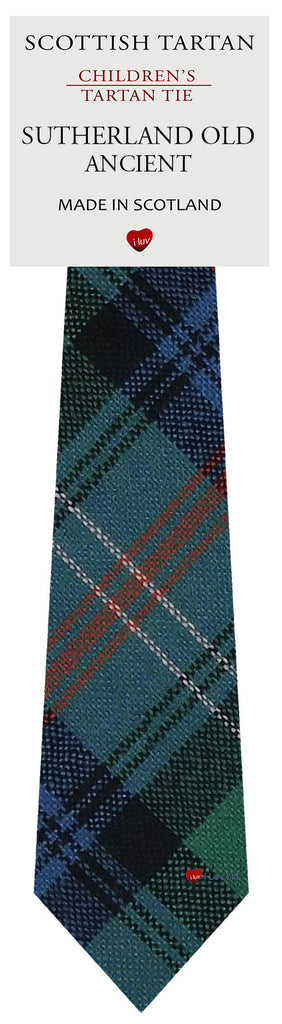 Boys All Wool Tie Woven Scotland - Sutherland Old Ancient Tartan