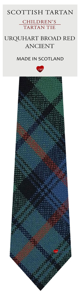 Boys All Wool Tie Woven Scotland - Urquhart Broad Red Ancient Tartan