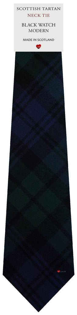 Mens All Wool Tie Woven Scotland - Black Watch Modern Tartan