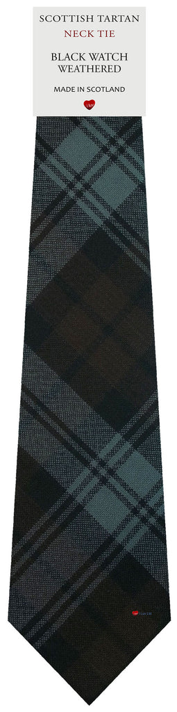 Mens All Wool Tie Woven Scotland - Black Watch Weathered Tartan