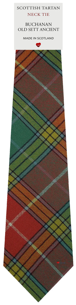 Mens All Wool Tie Woven Scotland - Buchanan Old Sett Ancient Tartan
