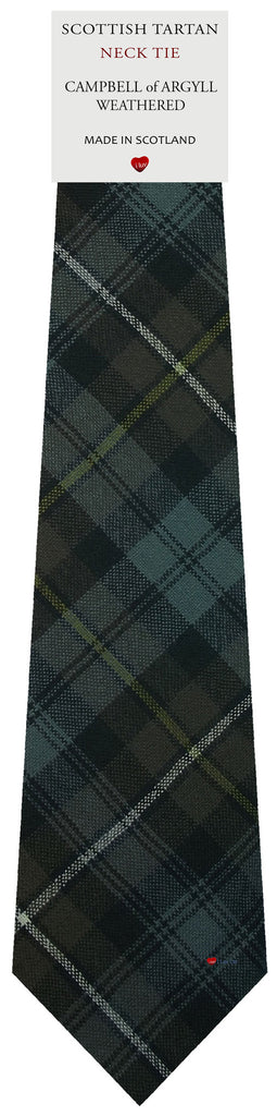 Mens All Wool Tie Woven Scotland - Campbell of Argyll Weathered Tartan