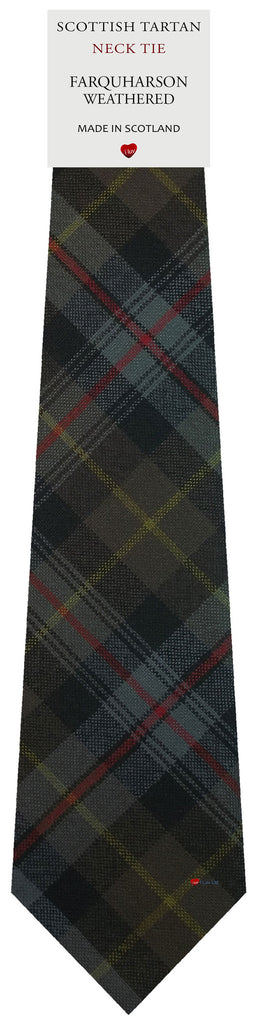 Mens All Wool Tie Woven Scotland - Farquharson Weathered Tartan