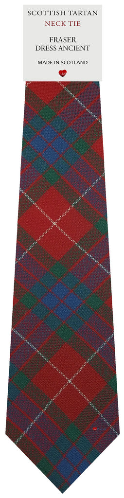 Mens All Wool Tie Woven Scotland - Fraser Dress Ancient Tartan