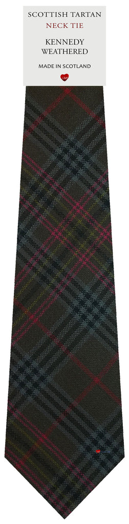 Mens All Wool Tie Woven Scotland - Kennedy Weathered Tartan