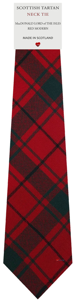Mens Wool Tie Woven MacDonald Lord Of The Isles Red Modern Tartan