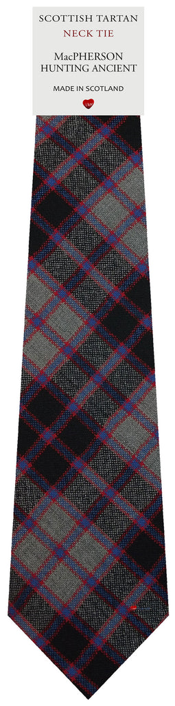Mens All Wool Tie Woven Scotland - MacPherson Hunting Ancient Tartan
