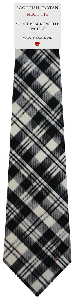 Mens All Wool Tie Woven Scotland - Scott Black and White Ancient Tartan