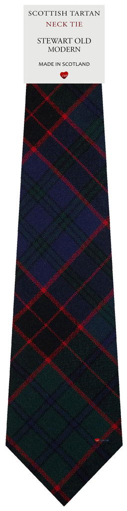 Mens All Wool Tie Woven Scotland - Stewart Old Modern Tartan
