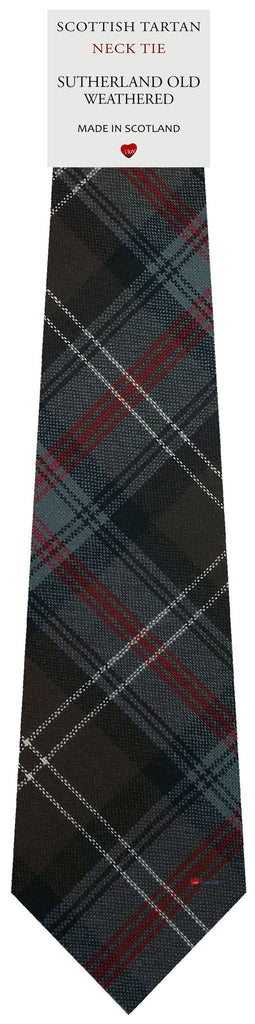 Mens All Wool Tie Woven Scotland - Sutherland Old Weathered Tartan