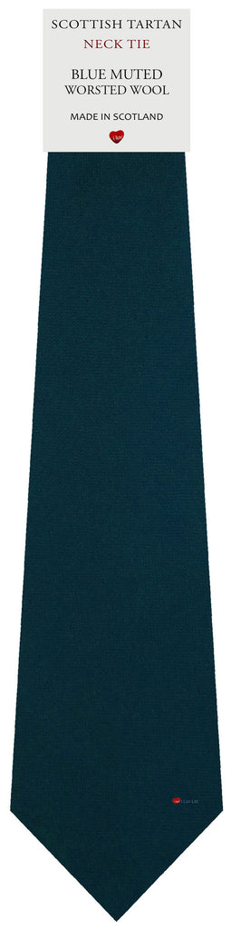 Mens All Wool Tie Woven Scotland - Plain Muted Blue