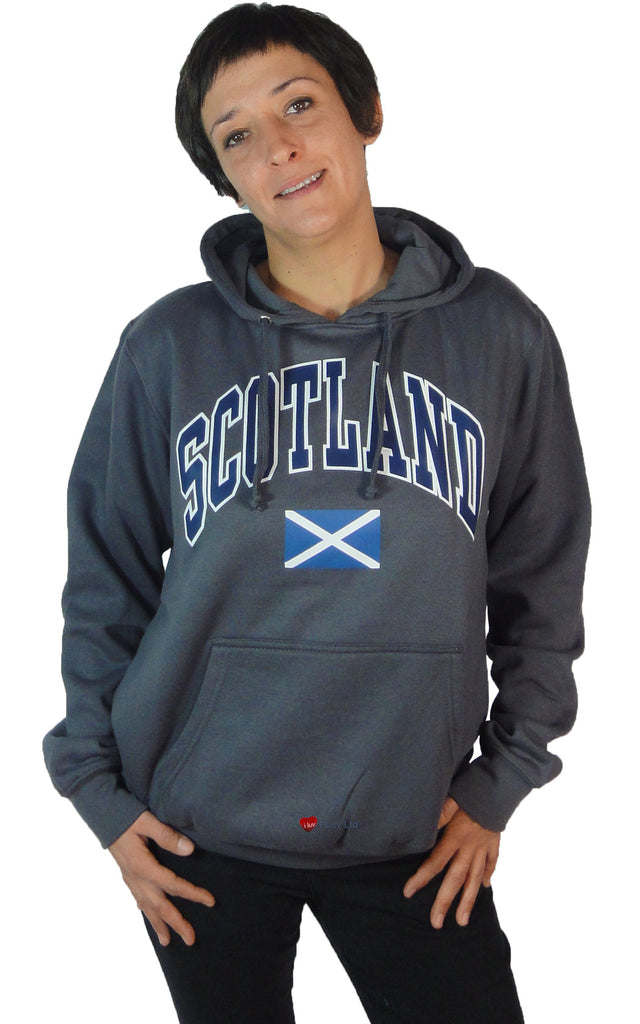 Womens Hoodie Top Scotland Saltire Charcoal Grey