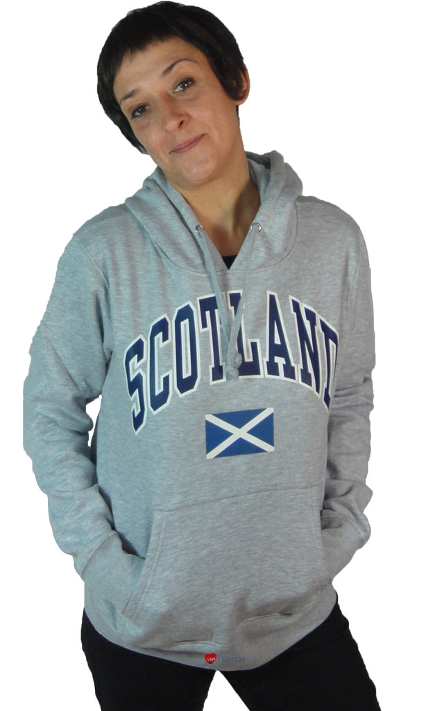 Womens Hoodie Top Scotland Saltire Light Grey