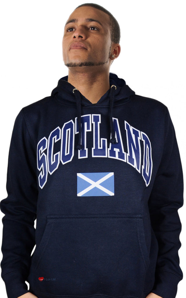 Mens Hoodie Top Scotland Saltire Navy Blue