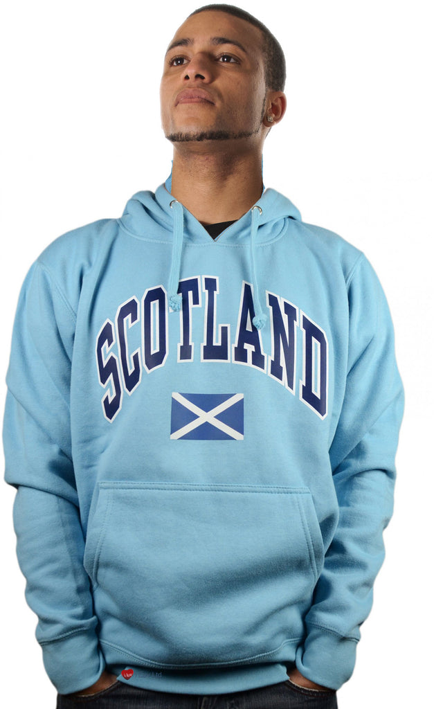 Mens Hoodie Top Scotland Saltire Sky Blue