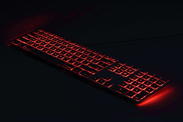 RGB Backlit Wired Aluminum Keyboard for PC - Black