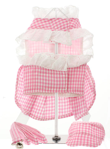 Pink Gingham / White Satin Ribbon Harness Dress, Lead & Hat - The Dog Demands, [product_dog accessories]