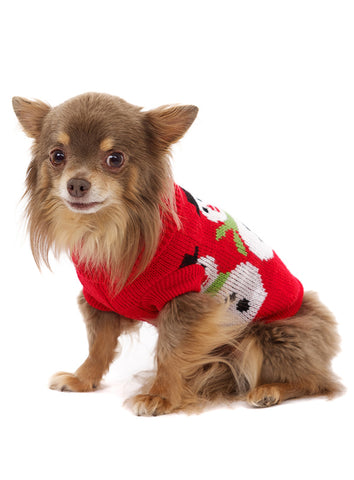 Snowman Sweater – Red and White - The Dog Demands, [product_dog accessories]