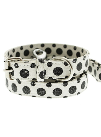 Black / White Polka Dot Glitter Collar & Lead Set - The Dog Demands, [product_dog accessories]